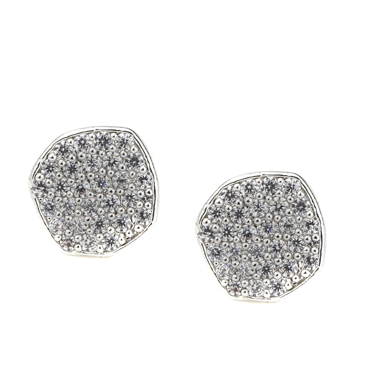 Wavy Pave Disc Earrings