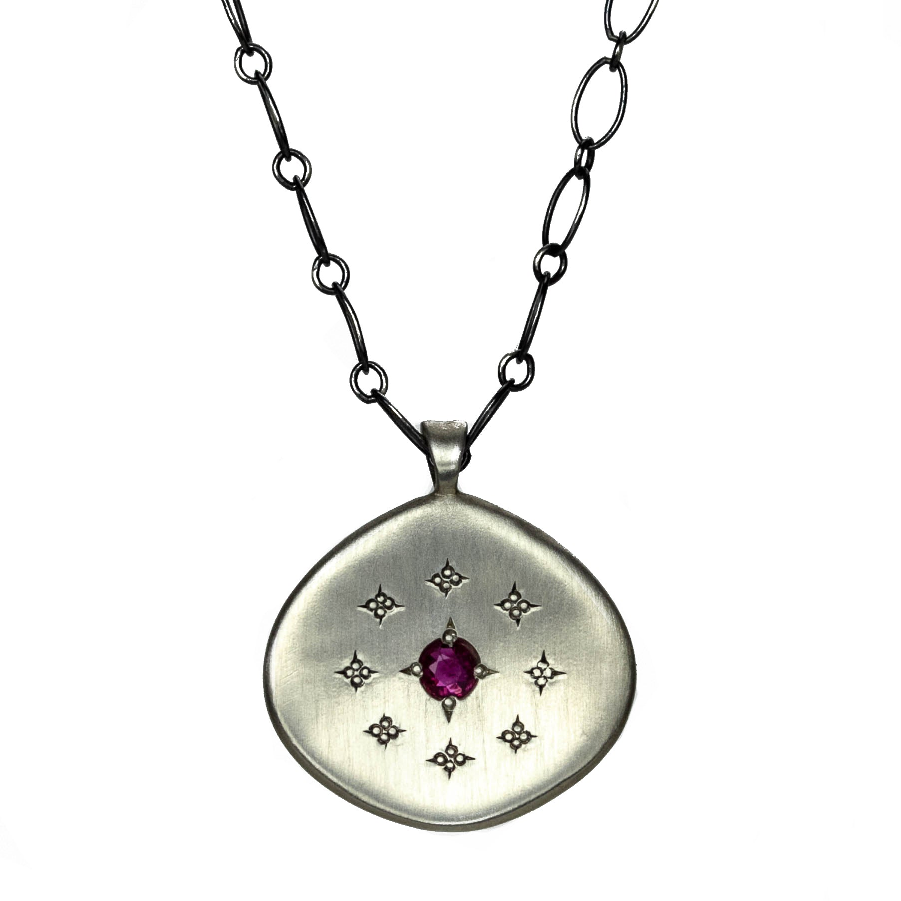 Silver Lights Ruby Necklace