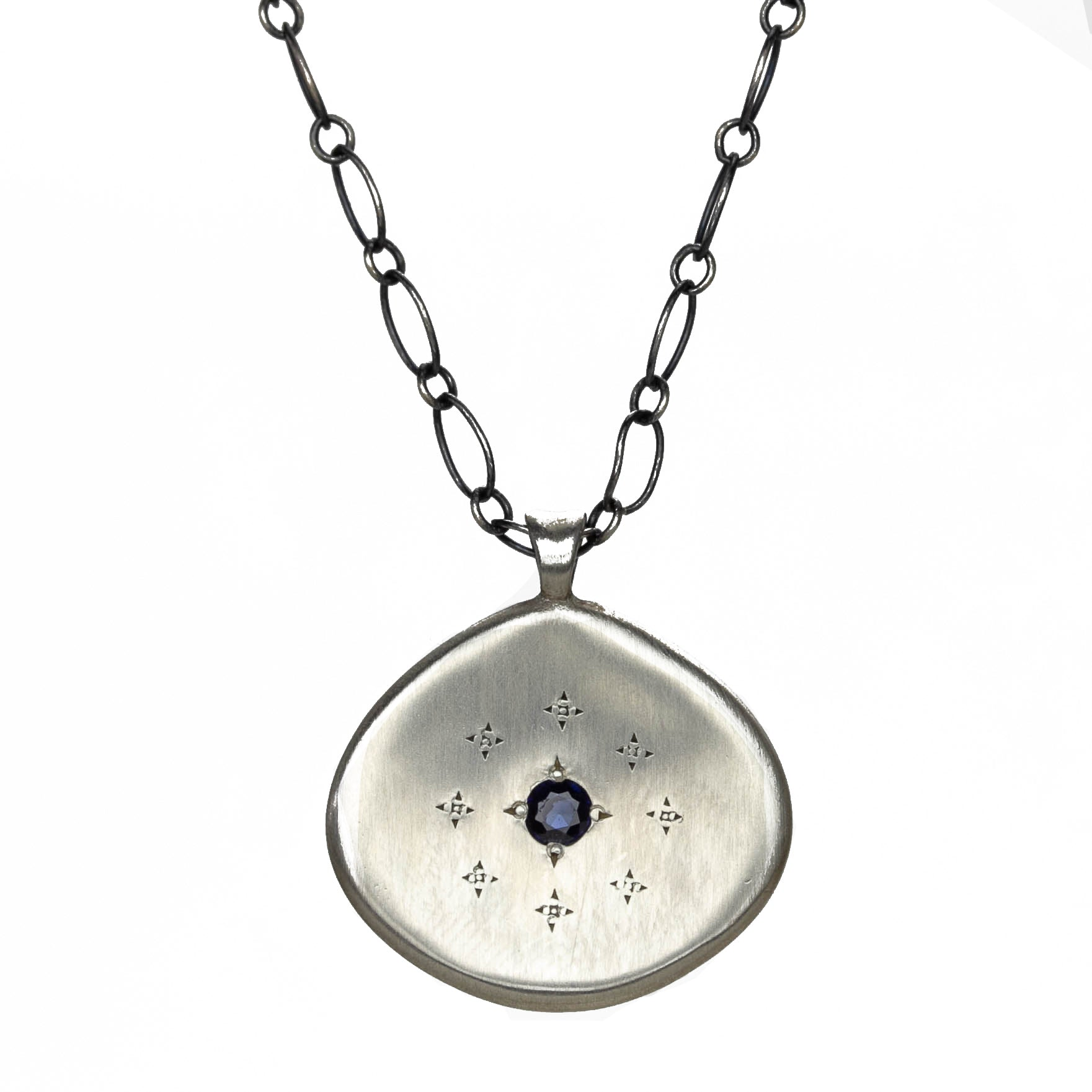 Silver Lights Sapphire Necklace