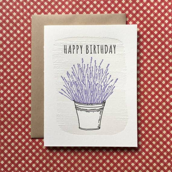 Happy Birthday Lavender - letterpress card