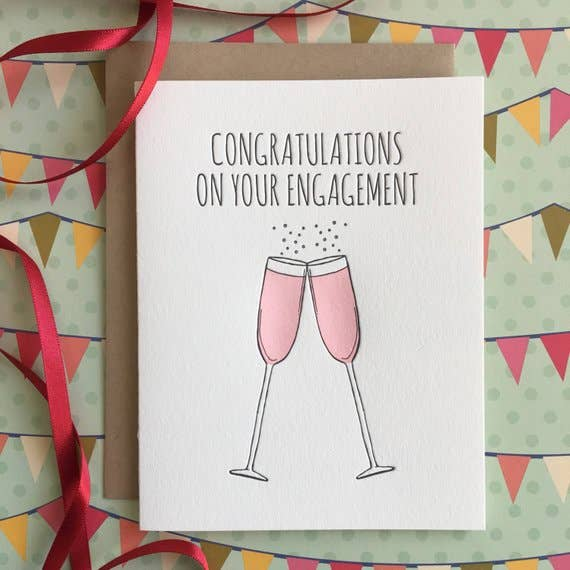 Engagement Champagne - letterpress card