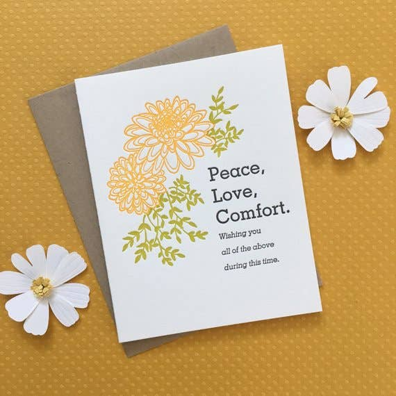 Dahlia Peace, Love, Comfort - letterpress card