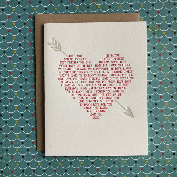 Heart Love Story - letterpress card
