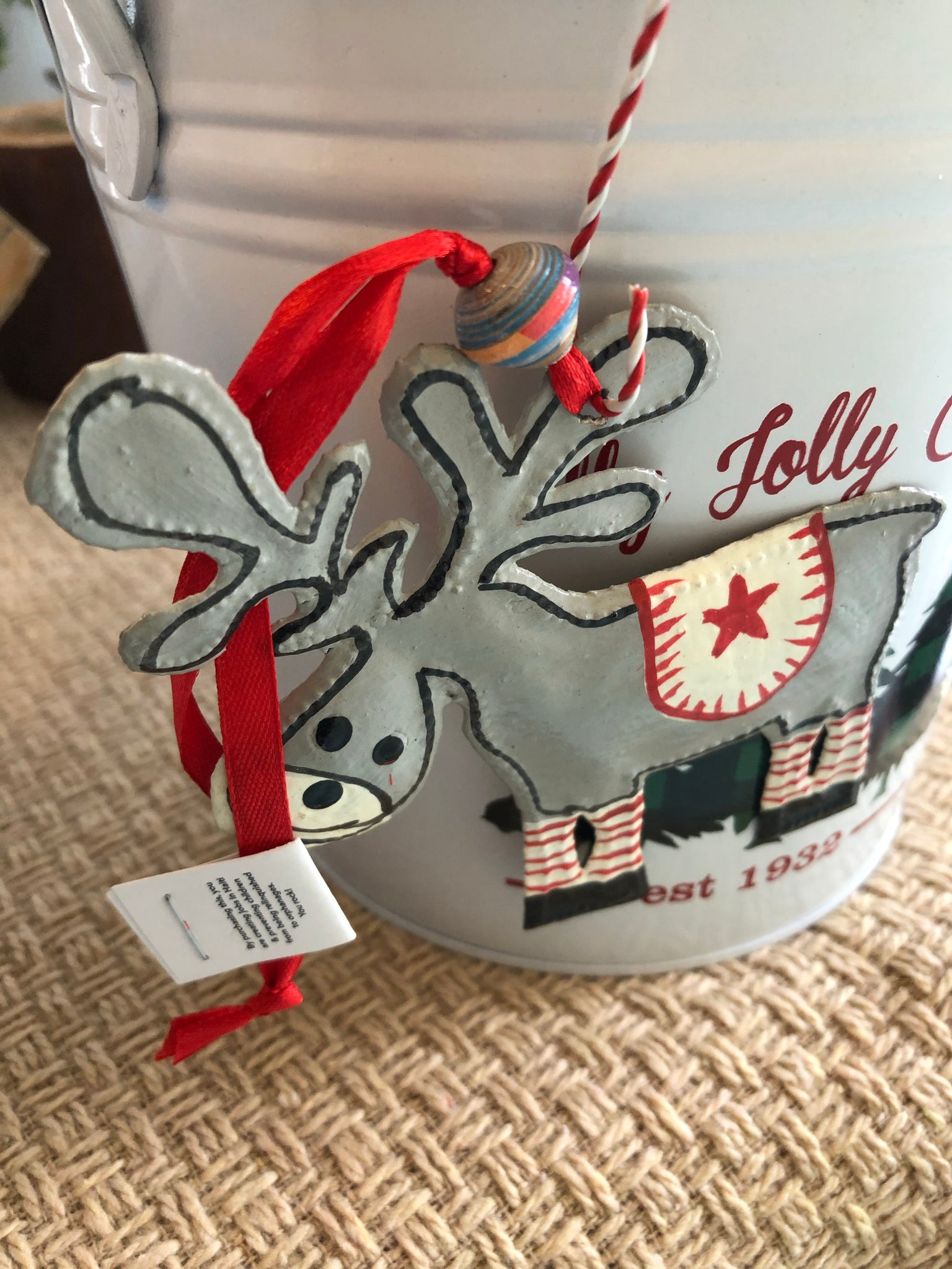 Red Star Moose Ornament