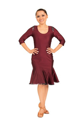 Dress- burgundy red, keyhole cutout and three quarter sleeves