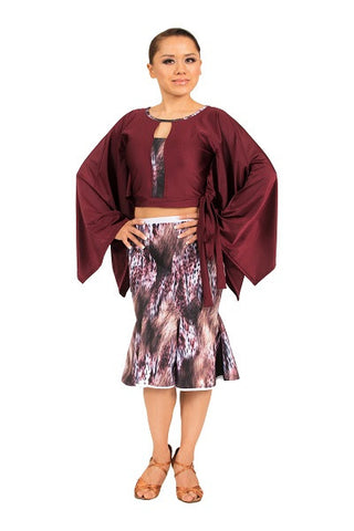 Top- red, keyhole cutout, batwing sleeves