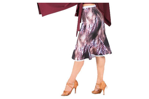 Skirt- animal print, salsa latin rhythm tango dancewear