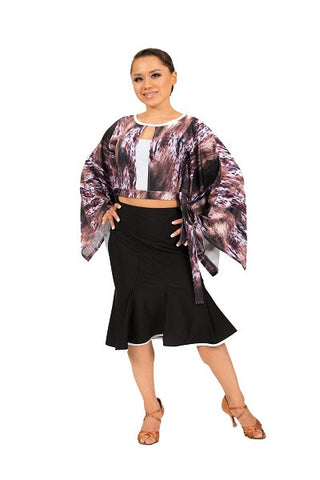 Top- animal print, batwing sleeves, dancewear
