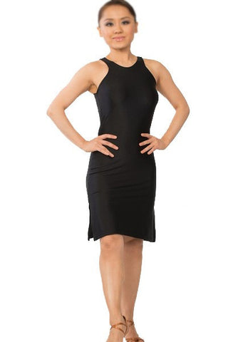 Dress-black tango salsa latin dance dress, side and back slits