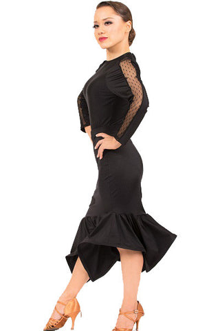 Skirt- black asymmetrical hem, tango latin rhythm salsa dance