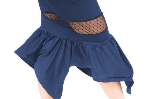 Skirt- asymmetrical hem,  navy blue, tango salsa latin dance