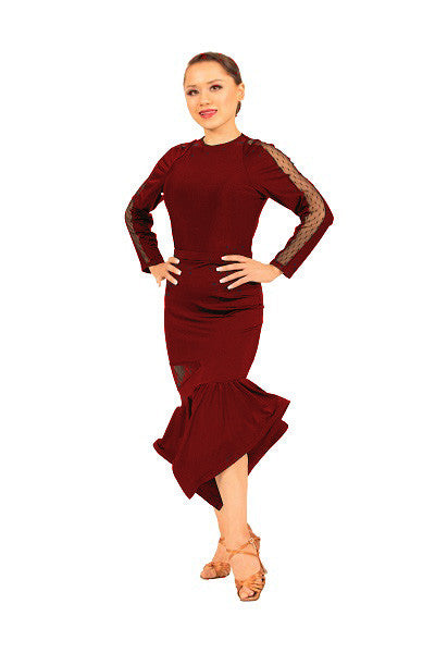 Skirt- red, asymmetrical flounce, tango latin party dance