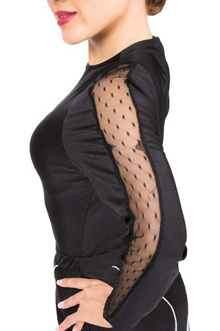 Leotard bodysuit- black & mesh