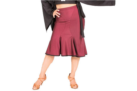 Skirt- burgundy red salsa latin rhythm tango dancewear