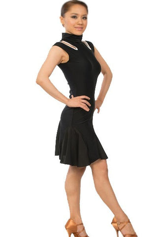 Dress-black, keyhole cutout, flare hem, dance wear