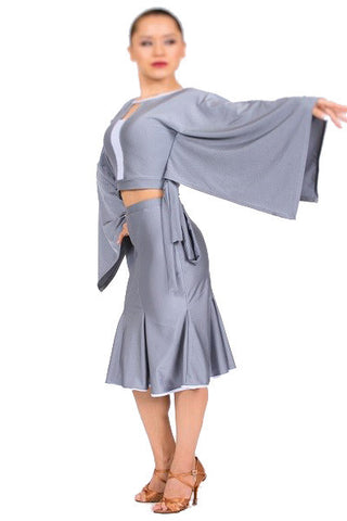 Skirt- Gray, salsa latin rhythm tango dance