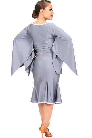 Top- gray batwing sleeves, keyhole cutout