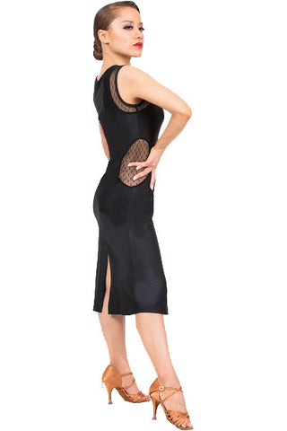 Dress- black mesh, center slits, dance wear