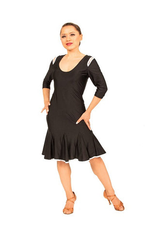Dress- black, keyhole cutout, three quarter sleeves
