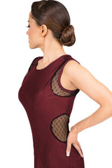 Dress-Burgundy red latin salsa tango dance