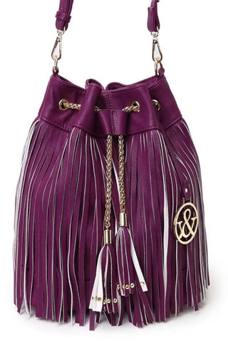 Bucket Tote Bag with purple fringe