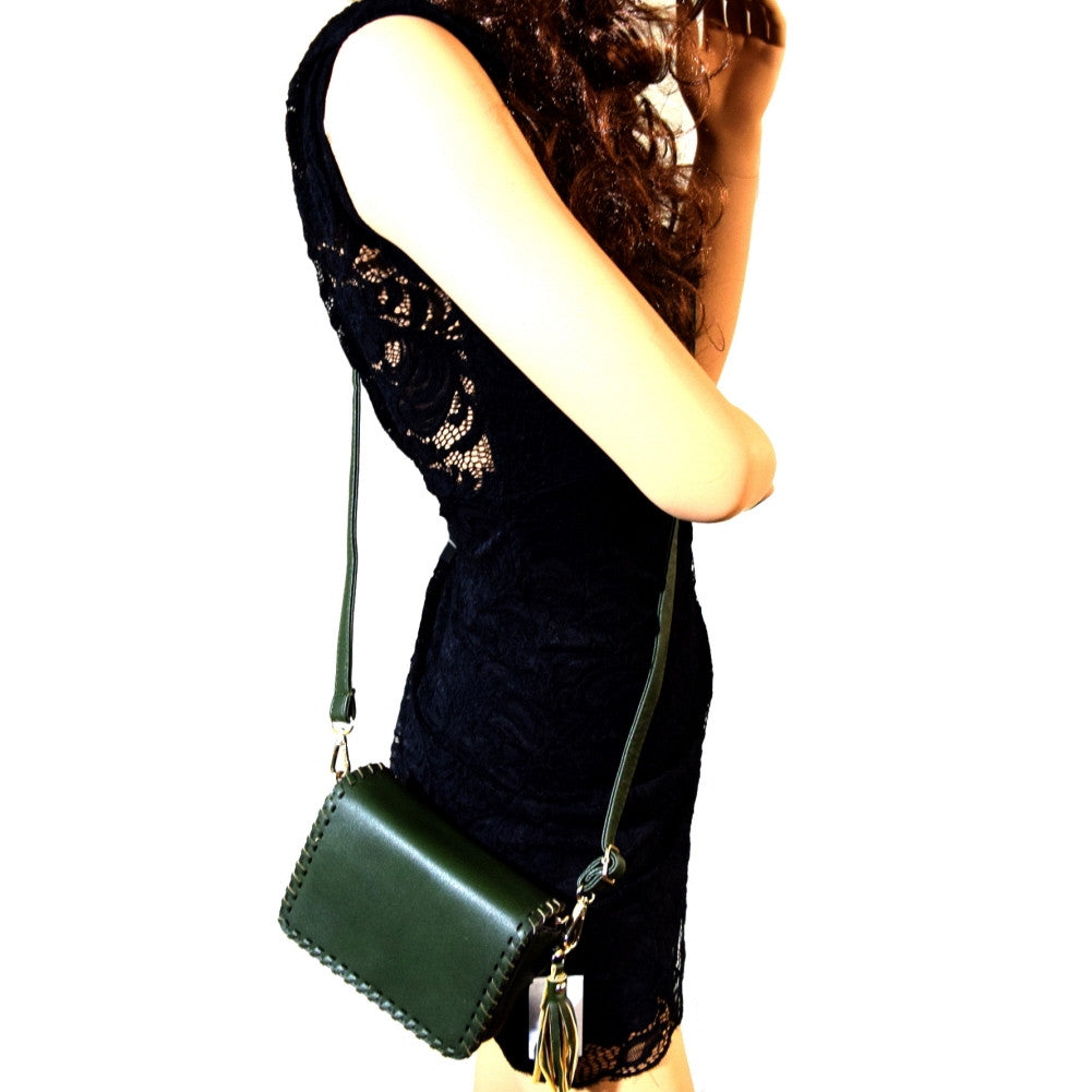 Crossbody leather bag- Green / Black/ Blush