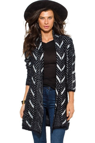 Chevron stripe knit cardigan top- black