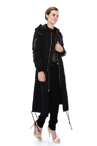 Long bomber waterproof trench coat - Black
