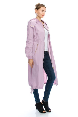 Long bomber waterproof trench coat - Lavender