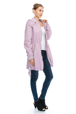 Short bomber waterproof trench coat - Lavender