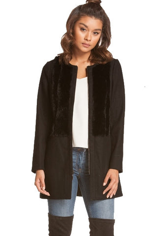 Wool coat with fur panels- black