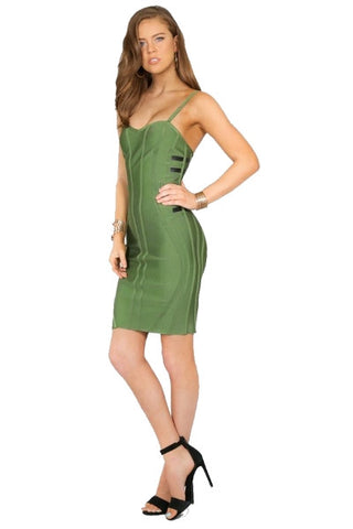 Spaghetti strap bandage dress - olive green