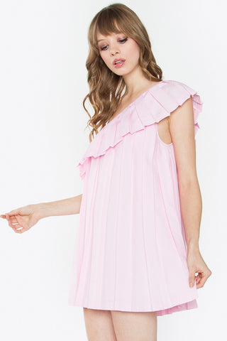 One shoulder pleated dress- Baby pink