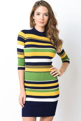 Quarter Sleeve Sweater Dress -yellow green stripes