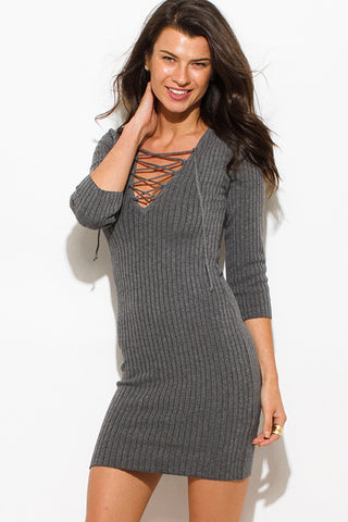 Lace up ribbed knit dress- charcoal gray