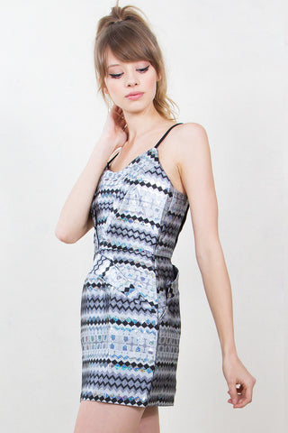 Silver holographic print dress