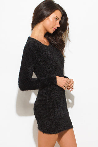 Mini sweater dress- black fuzzy tunic top