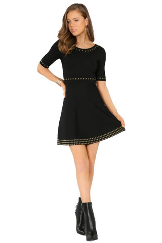 Fit & Flare Sweater Dress- Black with Eyelet embelishment