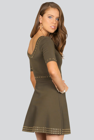 Fit & Flare Sweater Dress- Olive green