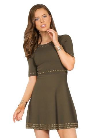 Fit & Flare Sweater Dress- Olive green with Eyelet embelishment