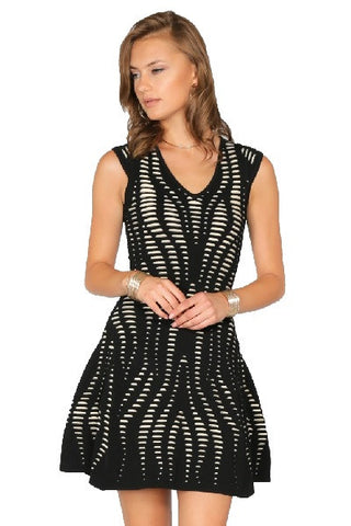 Fit & Flare Jacquard Dress- Black Cap Sleeve V Neck