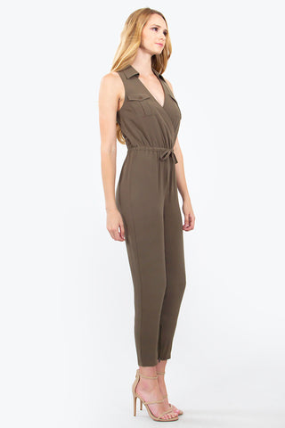 Sleeveless Jumpsuit- army olive green SOLD OUT