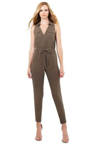 Sleeveless Jumpsuit- army olive green