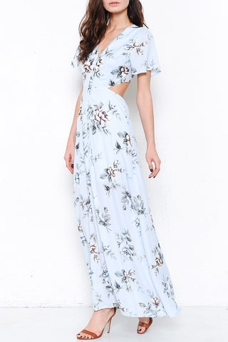 Rose print maxi dress- blue SOLD OUT