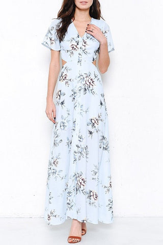 Rose print maxi dress- blue