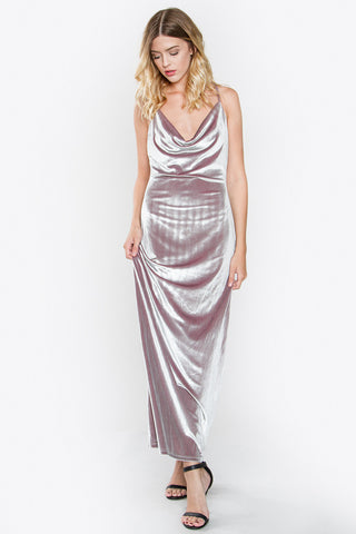 Silver velvet maxi dress SOLD OUT