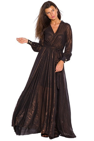 Chiffon maxi dress-black copper gold metallic