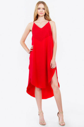 Midi dress- red high low