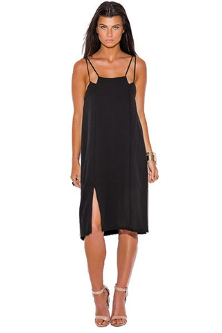 Midi dress- black cut out side slit