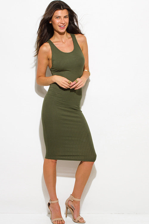 Ribbed knit bodycon dress- olive green